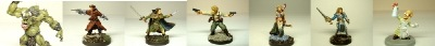 Painted miniature figures for role-playing games and table top war gaming 25 to 30 mm including fantasy, science fiction, pulp, super hero, and horror.