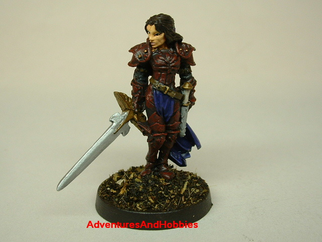 Female knight with longsword painted figure for fantasy role-playing games and table top war games front view