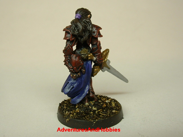 Female knight with longsword painted figure for fantasy role-playing games and table top war games rear view