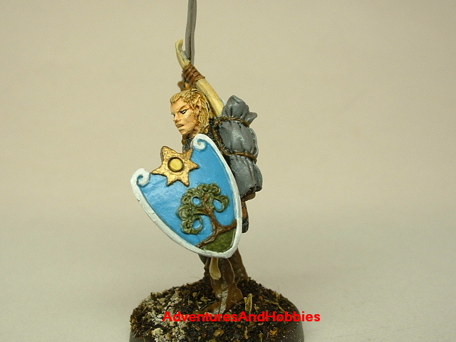 Elf warrior with longsword and longbow painted figure for fantasy role-playing games and table top war games shield details