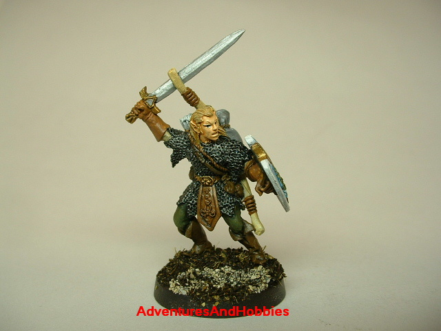 Elf warrior with longsword and longbow painted figure for fantasy role-playing games and table top war games front view