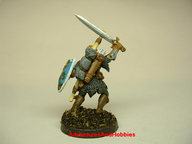 Elf warrior with longsword and longbow painted figure for fantasy role-playing games and table top war games rear view