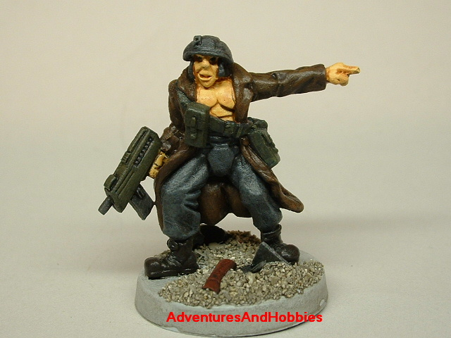 Post apocalypse civilian survivor with SMG 25mm painted figure for role-playing games and table top war games front view