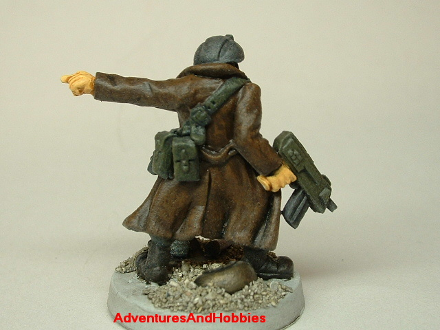 Post apocalypse civilian survivor with SMG 25mm painted figure for role-playing games and table top war games rear view