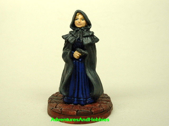 Victorian woman with revolver painted figure for use in role-playing games and table top war games front view