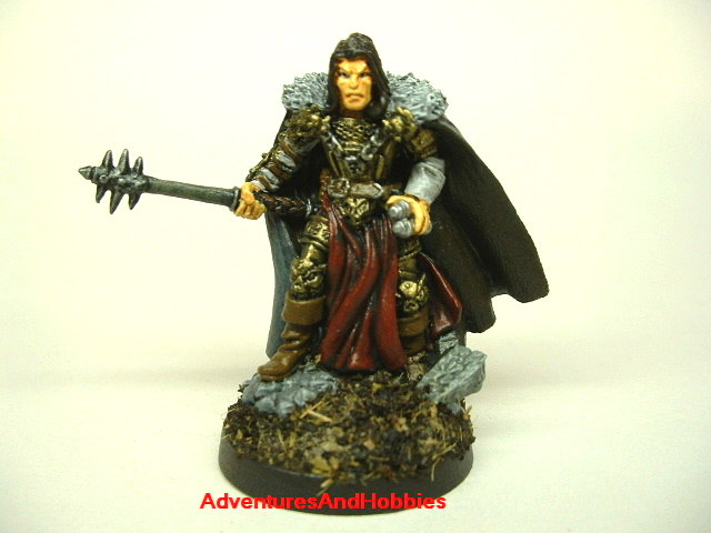 Evil warrior mage with mace painted fantasy figure for use in role-playing games and table top war games front view