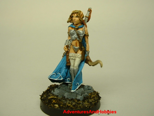 Female Elf warrior with longbow painted fantasy figure for use in role-playing games and table top war games front view