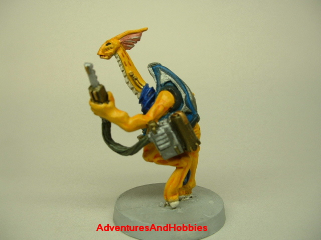 Alien tech scientist painted science fiction figure for use in 25 to 28 mm role-playing games and table top war games left side view