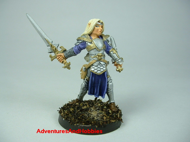 Elf knight with longsword and dagger painted figure for role-playing games and table top war games - front view