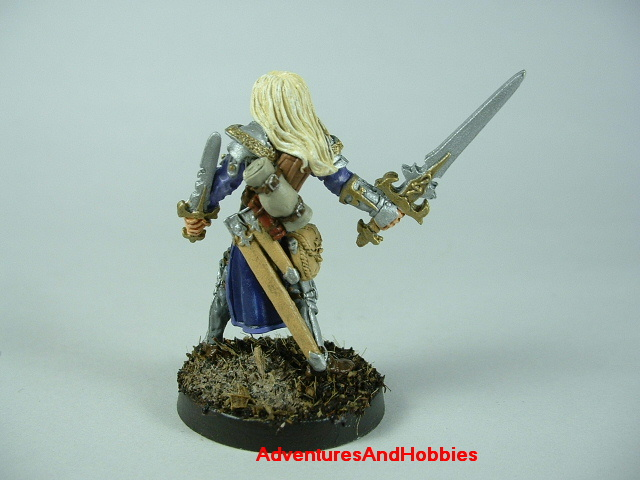 Elf knight with longsword and dagger painted figure for role-playing games and table top war games - rear view