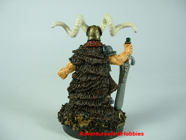 Barbarian chief fighter with broadsword and horned helmet painted figure for fantasy role-playing games and table top war games - frear view