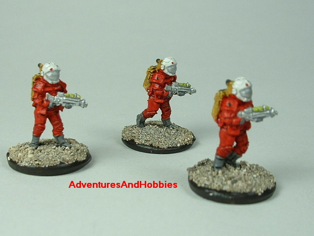 Space marine 3 man fire team A 15 mm painted figure for science fiction role-playing games and table top war games front view