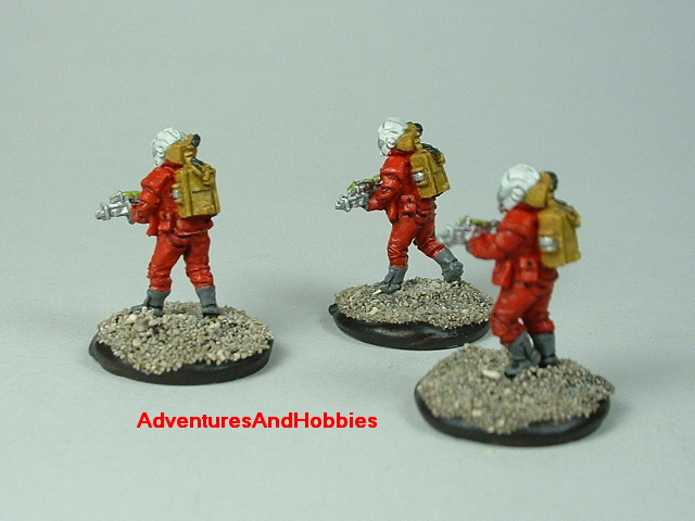 Space marine 3 man fire team A 15 mm painted figure for science fiction role-playing games and table top war games rear view