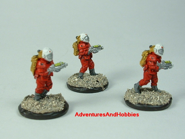 Space marine 3 man fire team B 15 mm painted figure for science fiction role-playing games and table top war games front view