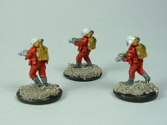 Space marine 3 man fire team B 15 mm painted figure for science fiction role-playing games and table top war games rear view
