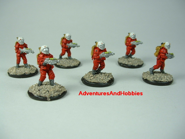 Space marine 6 man squad 15 mm painted figure for science fiction role-playing games and table top war games