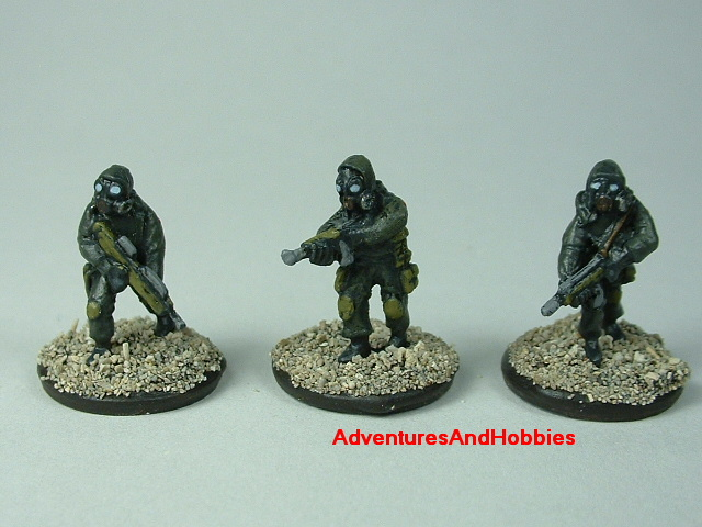 Three-man Fire Team B in bio suits painted 15 mm scale figure for modern or post apocalypse role-playing games and table top war games - front view
