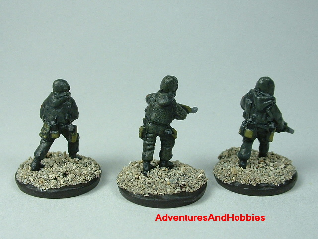 Three-man Fire Team B in bio suits painted 15 mm scale figure for modern or post apocalypse role-playing games and table top war games - rear view