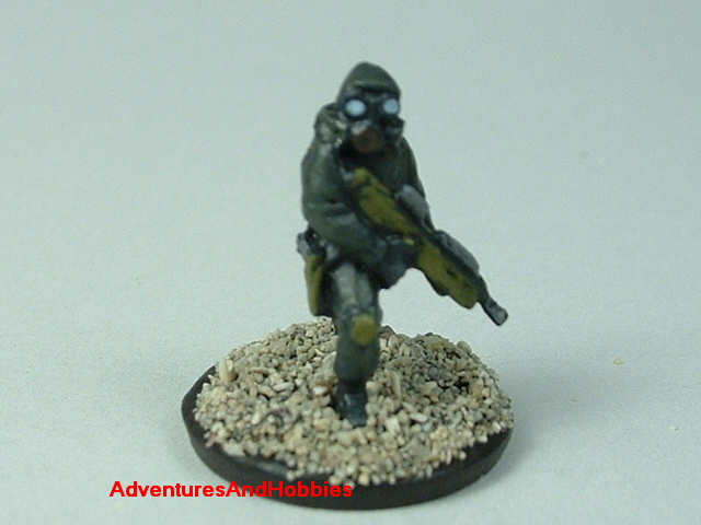 Close up of sniper in bio suits painted 15 mm scale figure for modern or post apocalypse role-playing games and table top war games - front view
