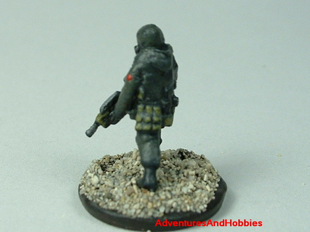 Close up of sniper in bio suits painted 15 mm scale figure for modern or post apocalypse role-playing games and table top war games - rear view