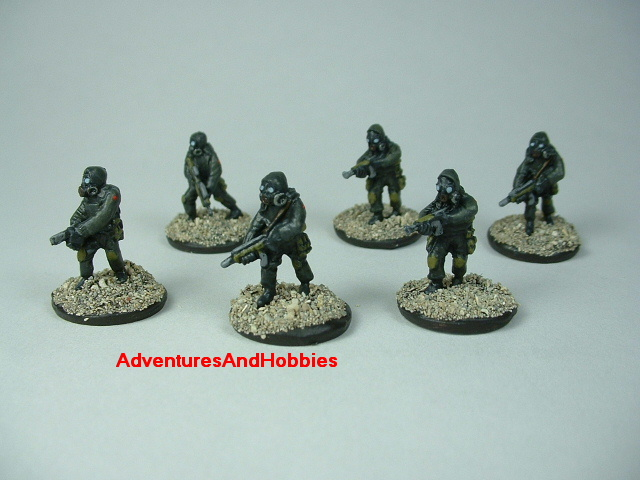 Six-man combat squad in bio suits painted 15 mm scale figure for modern or post apocalypse role-playing games and table top war games - front view