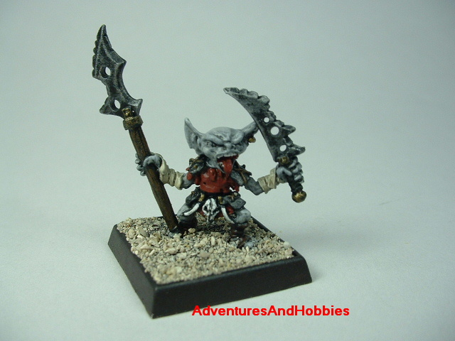 Goblin with sword and halberd painted 25 mm figure for fantasy role-playing games and table top war games - front view