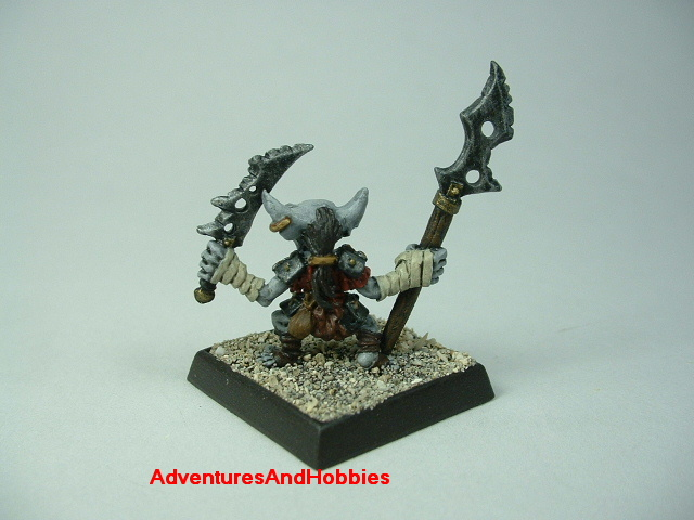 Goblin with sword and halberd painted 25 mm figure for fantasy role-playing games and table top war games - rear view