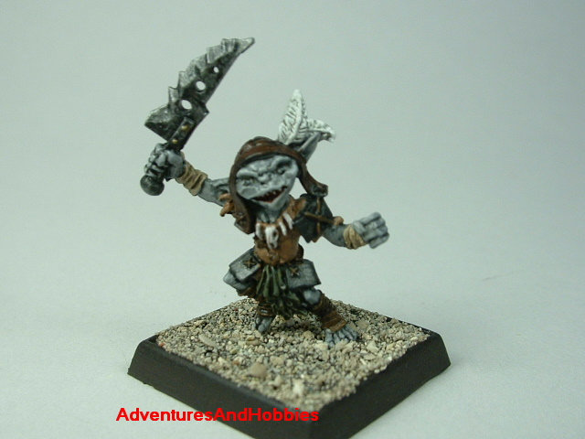 Goblin with sword painted 25 mm figure for fantasy role-playing games and table top war games - front view