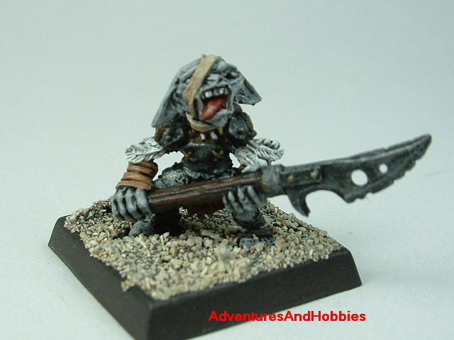 Goblin wounded with halberd painted 25 mm figure for fantasy role-playing games and table top war games - front view