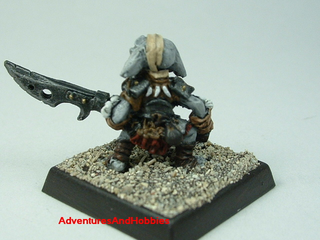 Goblin wounded with halberd painted 25 mm figure for fantasy role-playing games and table top war games - rear view