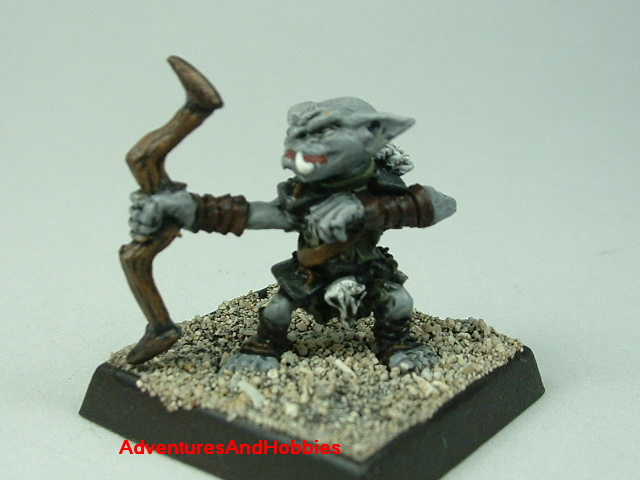 Goblin with bow painted 25 mm figure for fantasy role-playing games and table top war games - front view
