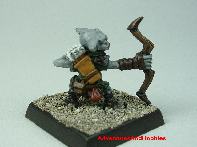 Goblin with bow painted 25 mm figure for fantasy role-playing games and table top war games - rear view