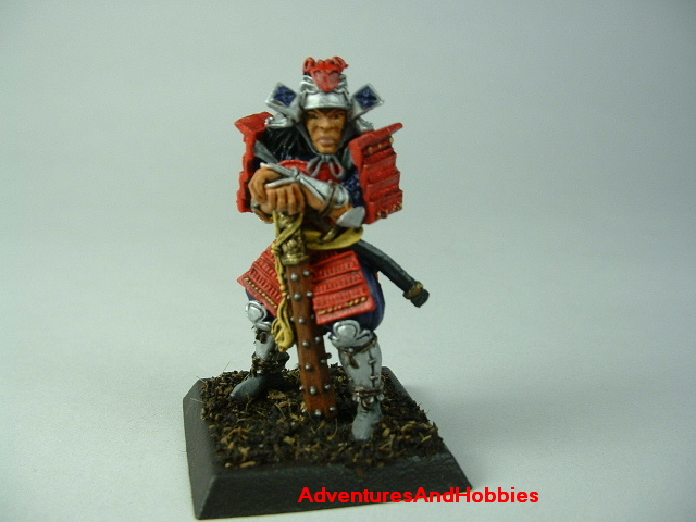 Samurai general with war club painted figure for Fuedal Japan role-playing games and table top war games - front view