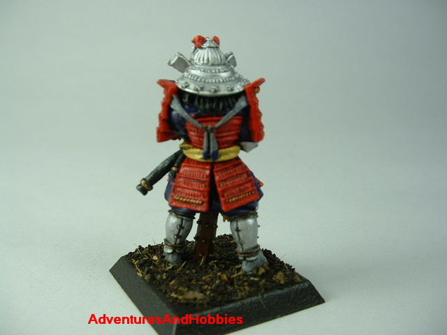 Samurai general with war club painted figure for Fuedal Japan role-playing games and table top war games - rear view