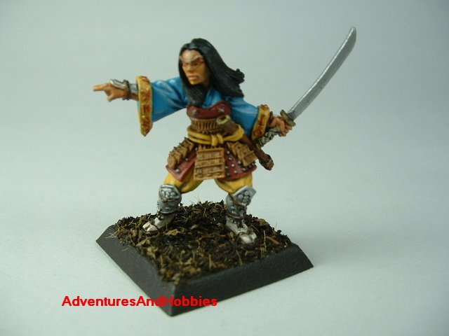Female samurai with sword painted figure for Fuedal Japan role-playing games and table top war games - front view