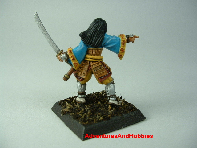 Female samurai with sword painted figure for Fuedal Japan role-playing games and table top war games - rear view