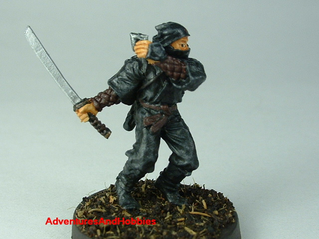 Ninja warrior with katana and shuriken painted figure for Fuedal Japan role-playing games and table top war games - front view