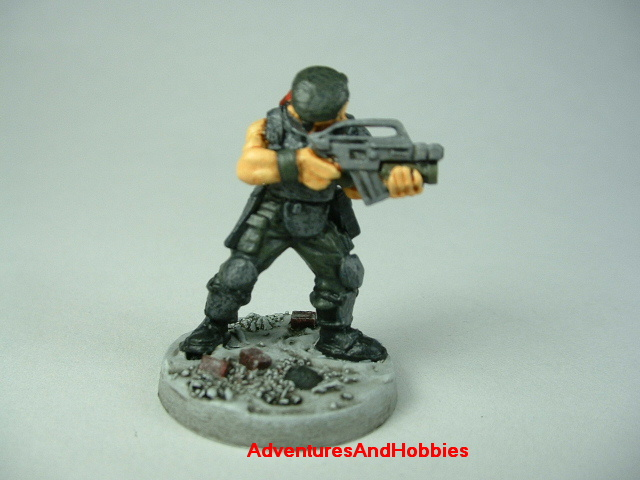Special Forces post apocalypse soldier zombie hunter painted figure for role-playing games and table top war games - front view