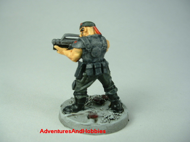Special Forces post apocalypse soldier zombie hunter painted figure for role-playing games and table top war games - rear view