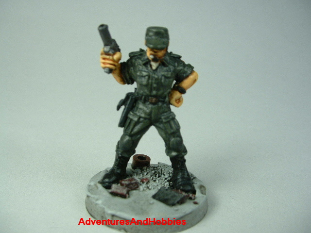 Post apocalypse officer leader soldier zombie hunter painted figure for role-playing games and table top war games - front view