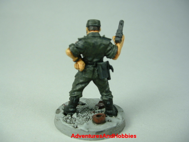 Post apocalypse officer leader soldier zombie hunter painted figure for role-playing games and table top war games - rear view