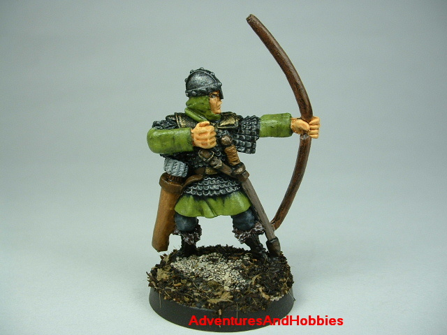 Man at arms with longbow painted figure for fantasy role-playing games and table top war games - front view