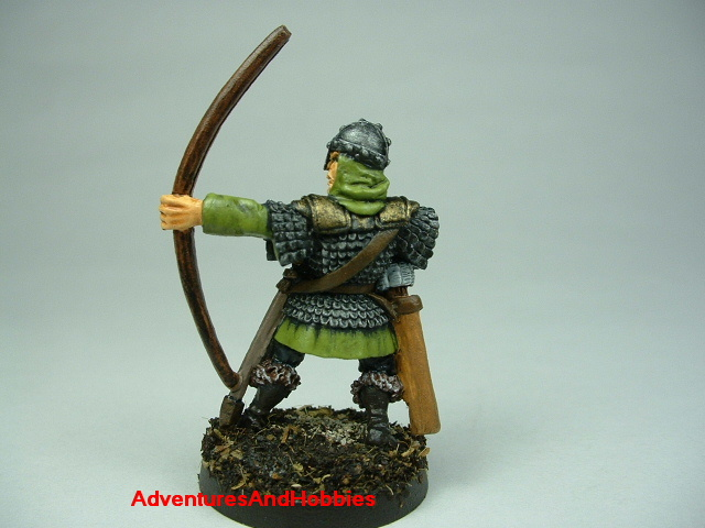 Man at arms with longbow painted figure for fantasy role-playing games and table top war games - rear view