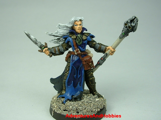 Dark elf wizard with staff and dagger painted figure for fantasy role-playing games and table top war games - front view