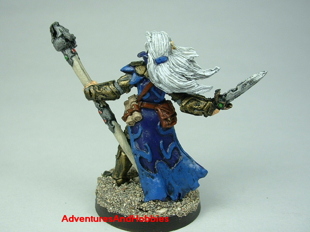 Dark elf sorcerer with staff and dagger painted figure for fantasy role-playing games and table top war games - rear view