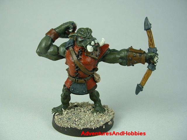 Orc archer painted figure for fantasy role-playing games and table top war games front view