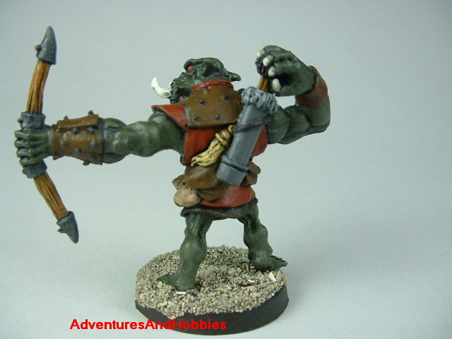 Orc archer painted figure for fantasy role-playing games and table top war games rear view