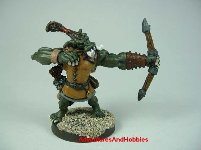 Orc archer 28 mm scale painted figure for fantasy role-playing games and table top war games front view