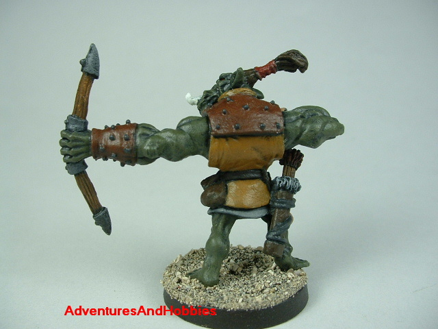 Orc archer 28 mm scale painted figure for fantasy role-playing games and table top war games rear view