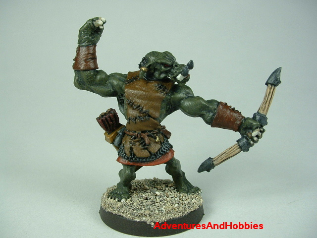 Orc archer firing bow painted figure for fantasy role-playing games and table top war games front view